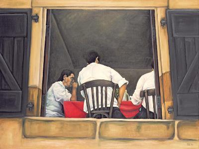 Chef and Waiters Having Service Lunch, 1999-Peter Breeden-Giclee Print