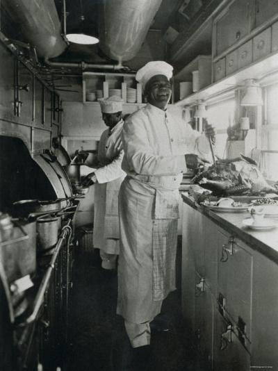 Chef at Work in the Galley of a Baltimore and Ohio Train--Photographic Print