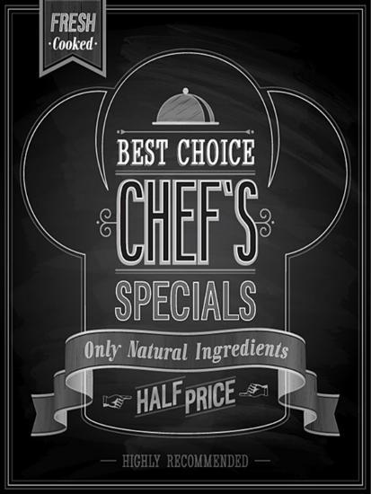 Chef's Specials Poster Chalkboard-avean-Art Print