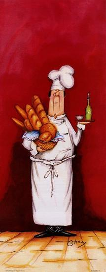 Chef With Bread And Oil-Tracy Flickinger-Art Print