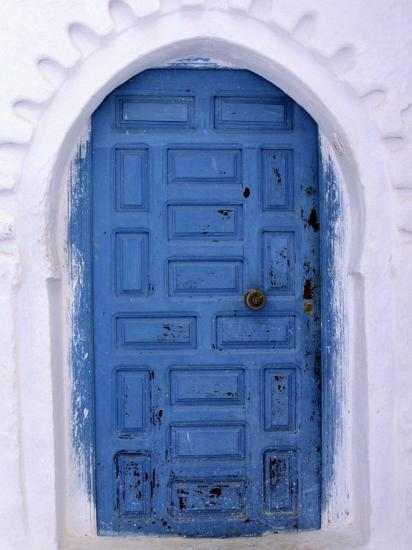 Chefchaouen Blue Door and Whitewashed Walls - Typical in Rif Mountains Town of Chefchaouen, Morocco-Andrew Watson-Photographic Print