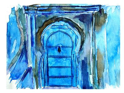 Chefchaouen Morocco Blue Door-M Bleichner-Art Print