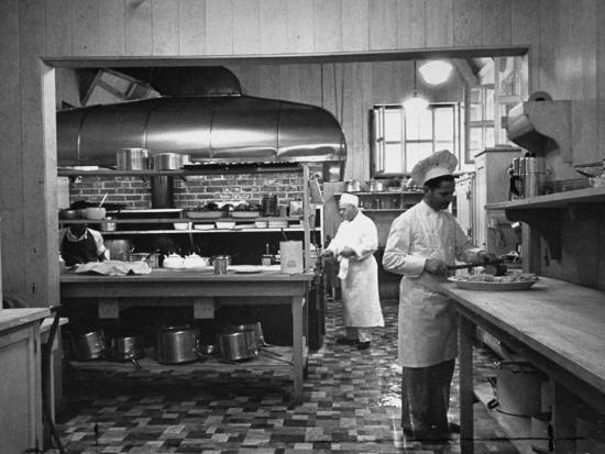 Chefs Working in the Kitchen at Gables-Peter Stackpole-Premium Photographic Print