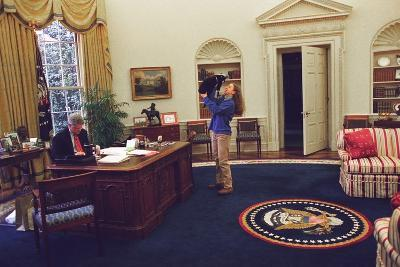 Chelsea Clinton Playing with Socks the Cat in the Oval Office--Photo