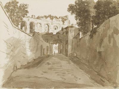 Chemin encaissé entre de hautes murailles et ruines-Pierre Henri de Valenciennes-Giclee Print