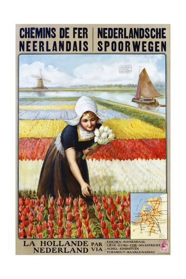 Chemins De Fer Neerlandais Travel Poster--Giclee Print