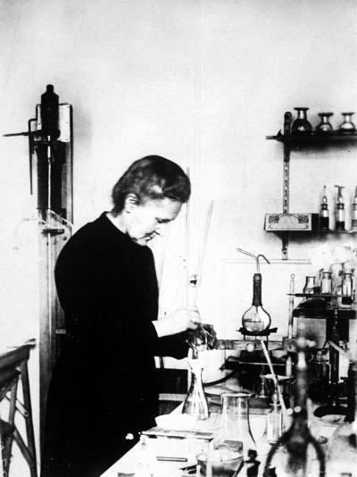 Chemist Marie Curie at Work in Her Laboratory--Premium Photographic Print