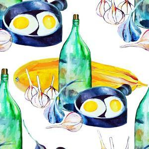 A Seamless Pattern with a Rustic Still Life. the Bottle of Moonshine, the Scrambled Eggs, the Garli by chempina