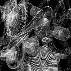 Clock Mechanism. Wire-Frame Render by cherezoff