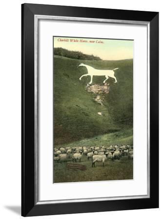 Cherhill White Horse near Calne--Framed Art Print