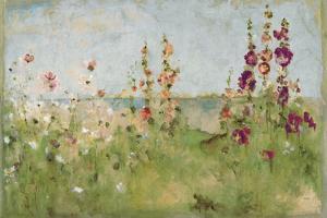 Hollyhocks by the Sea by Cheri Blum