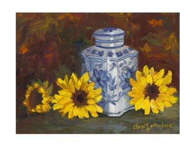 Sunflowers and Blue and White Vase by Cheri Wollenberg