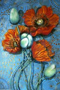 Orange Poppies on Blue by Cherie Roe Dirksen