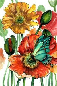 Poppies and Blue Butterfly by Cherie Roe Dirksen