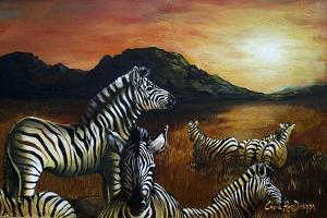 Zebra Sunset by Cherie Roe Dirksen