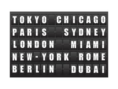 Flight Destination, Information Display Board Named World Cities Tokyo, Chicago, Paris, Sydney, Lon