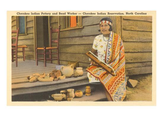 Cherokee Indian with Pottery, North Carolina--Art Print