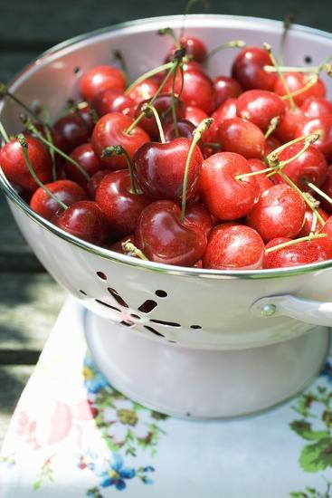 Cherries in Colander-Foodcollection-Photographic Print