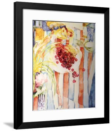 Cherries on White Plate-Shirley Trevena-Framed Art Print