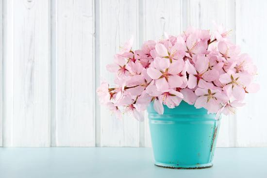 Cherry Blossom Flower Bouquet on Wooden Background-Anna-Mari West-Photographic Print