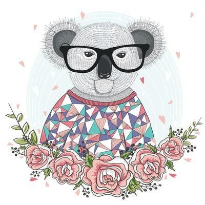 Cute Hipster Koala with Glasses and Flower Frame.