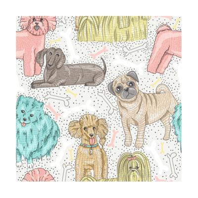 Cute Seamless Vector Pattern with Little Breed Dogs. Bichon, Pug, Spitz, Dachshund, Poodle, Shih Tz by cherry blossom girl