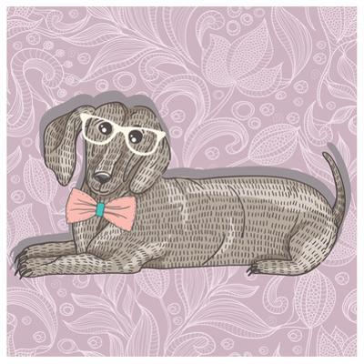Hipster Dachshund with Glasses and Bowtie. Cute Puppy Illustration for Children and Kids. Dog Backg by cherry blossom girl
