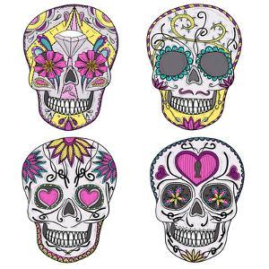 Mexican Skull Set. Colorful Skulls With Flower And Heart Ornamens. Sugar Skulls by cherry blossom girl