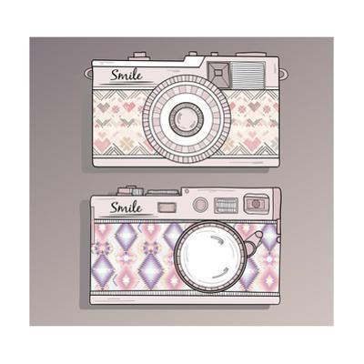 Retro Photo Cameras Set. Vintage Cameras With Ornaments by cherry blossom girl