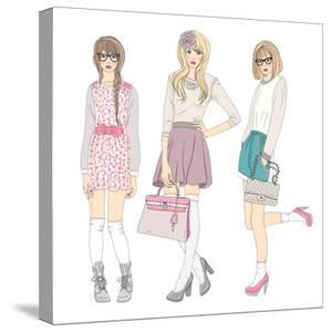 Young Fashion Girls Illustration. With Teen Females by cherry blossom girl