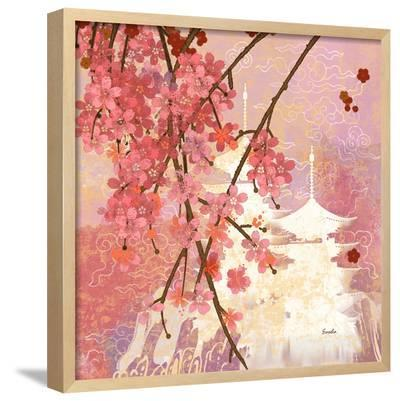 Cherry Blossom Pagoda--Framed Art Print