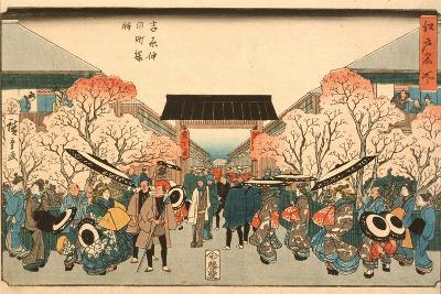 Cherry Blossom Time in Nakanoch? of the Yoshiwara from the series Famous Places of Edo, c.1848-9-Ando or Utagawa Hiroshige-Giclee Print