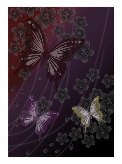 Cherry Blossoms Red-Ikuko Kowada-Giclee Print