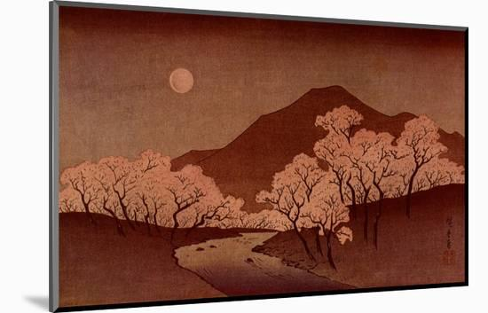 Cherry Blossoms-Ando Hiroshige-Mounted Art Print