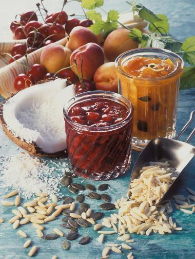 Cherry Jam with Coconut and Apricot Jam with Almonds-Martina Urban-Photographic Print