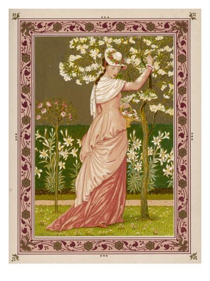 Cherry Ripe: a Pretty Lady in a Pink Dress Stands in Front of a Tree Full of Blossom--Giclee Print