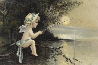Cherub Fishing--Giclee Print