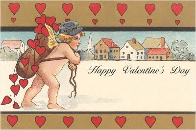 Cherub Mail Carrier Toting Valentines--Art Print