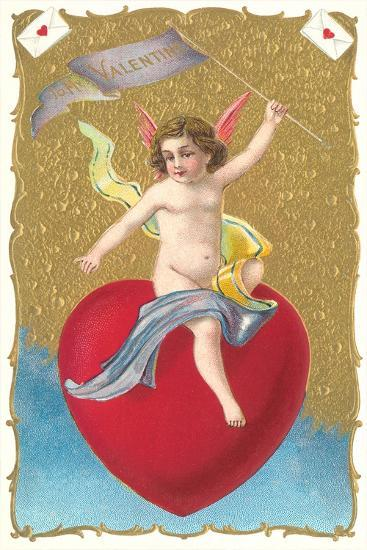 Cherub Sitting on Heart--Art Print
