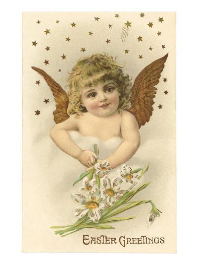 Cherub with Lilies--Art Print