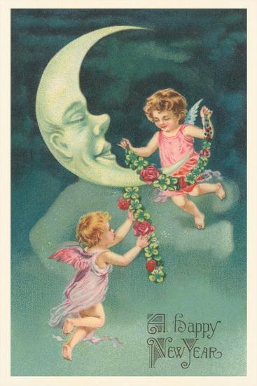 Cherubs on Crescent Moon--Art Print