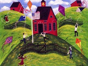 Old Red School House Kite Day Cheryl Bartley by Cheryl Bartley