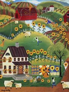 Primitive Quilt Maker House Sunflower Sheep Cheryl Bartley by Cheryl Bartley