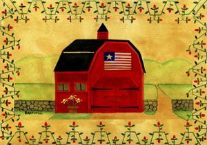 Primtive American Red Folk Art Barn by Cheryl Bartley