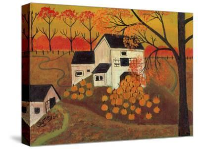 Pumpkin Barn Autumn Folk Art Cheryl Bartley by Cheryl Bartley
