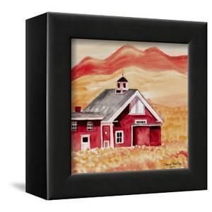 Red Folk Art Barn by Cheryl Bartley