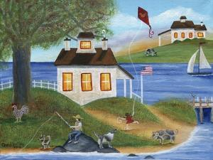 Summertime Fishing with spotted dogs, pig and chicken at lake house by Cheryl Bartley