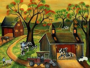 Sunrise Autumn Cow and Sheep Barnyard by Cheryl Bartley