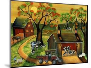 Sunrise Autumn Cow and Sheep Barnyard by Cheryl Bartley