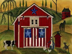 Sunrise Red White Blue Barn Lang by Cheryl Bartley